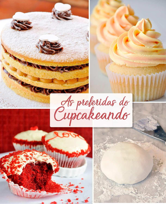 Imagens de algumas receitas que são as preferidas do Cupcakeando, com mais acessos gerais.