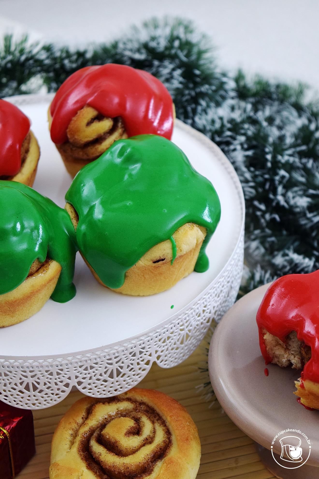 Rolinhos de canela, ou cinnamon rolls, para o Natal