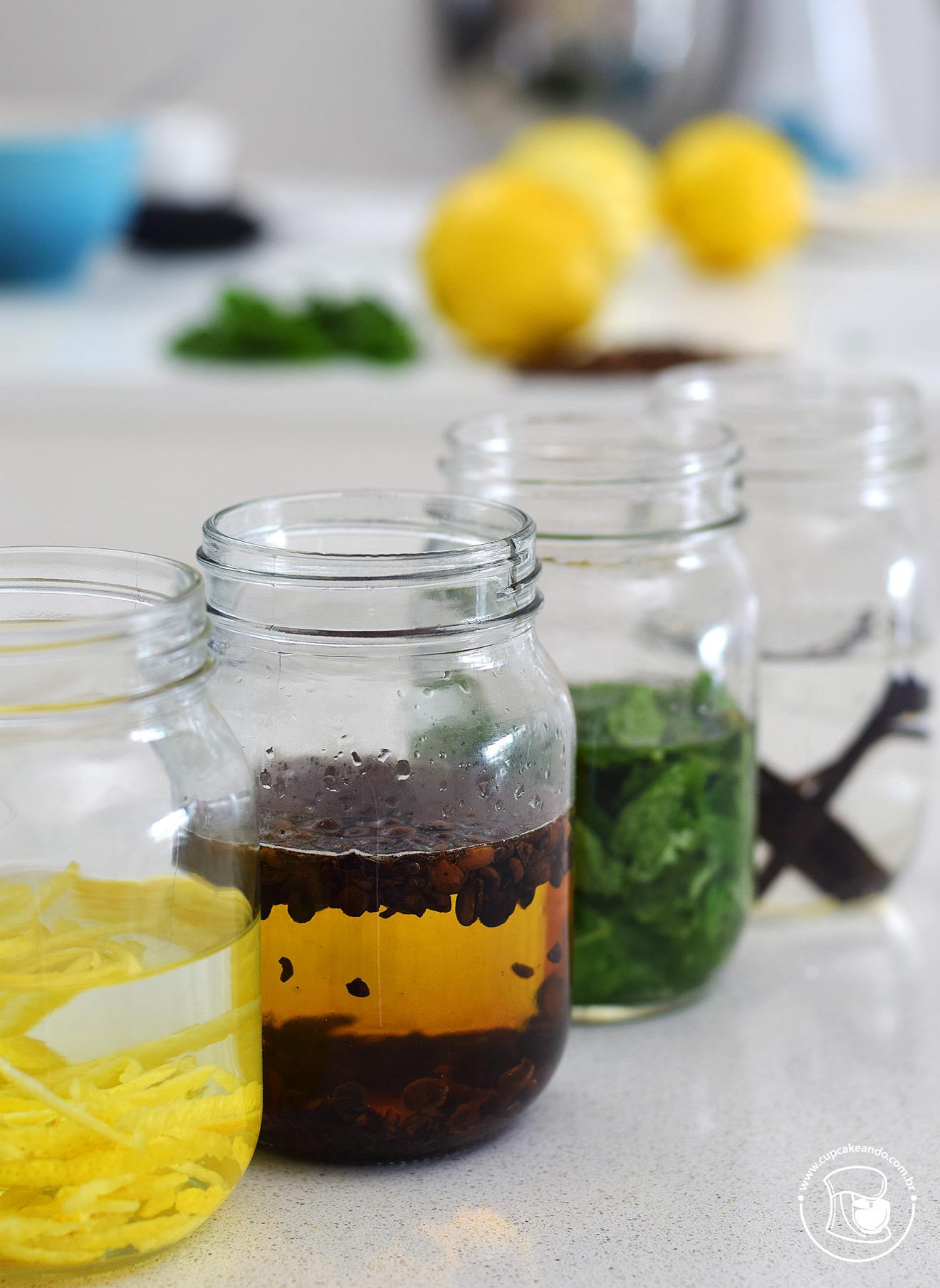 Extratos caseiros de limão, hortelã, café e baunilha para fazer e presentear os amigos no Natal